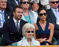 July 6, 2014, UK, London, Tennis, Wimbledon, AELTC, Men's Singles Final:  Novak Djokovic (SRB) vs Roger Federer (SUI), Pictured: In the Royal Box Victoria and David Beckham <br /> Photo: Tennisimages/Henk Koster