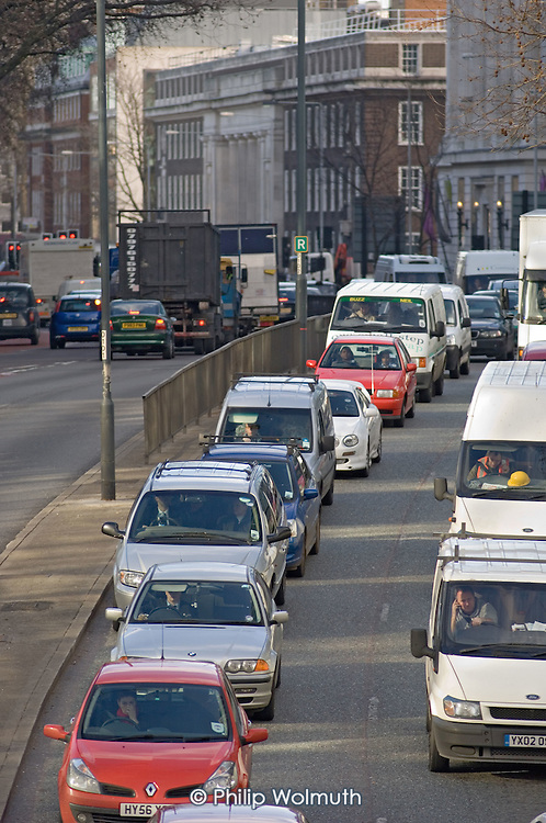 Traffic on the Euston Road, central London