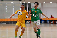 Timonthy O'Farrell  of Southern and Adam Burrowes of Central during the Men's Futsal SuperLeague, Central Futsal v Southern United Futsal at ASB Sports Centre, Wellington on Saturday 31 October 2020.<br /> Copyright photo: Masanori Udagawa /  www.photosport.nz