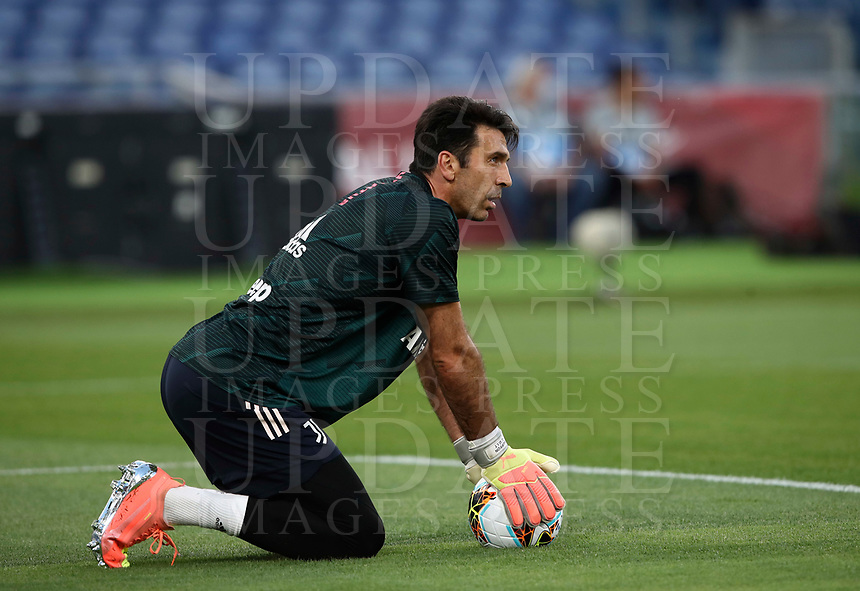 Juventus' Gianluigi Buffon warms up before the start of the Italian Cup football final match between Napoli and Juventus at Rome's Olympic stadium, June 17, 2020. Napoli won 4-2 at the end of a penalty shootout following a scoreless draw.<br /> UPDATE IMAGES PRESS/Isabella Bonotto