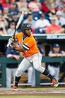 Oklahoma State Cowboys second baseman J.R. Davis (2) at bat against the Arizona Wildcats during Game 6 of the NCAA College World Series on June 20, 2016 at TD Ameritrade Park in Omaha, Nebraska. Oklahoma State defeated Arizona 1-0. (Andrew Woolley/Four Seam Images)