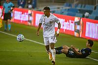 SAN JOSE, CA - SEPTEMBER 13: Julian Araujo #22 of the Los Angeles Galaxy during a game between Los Angeles Galaxy and San Jose Earthquakes at Earthquakes Stadium on September 13, 2020 in San Jose, California.