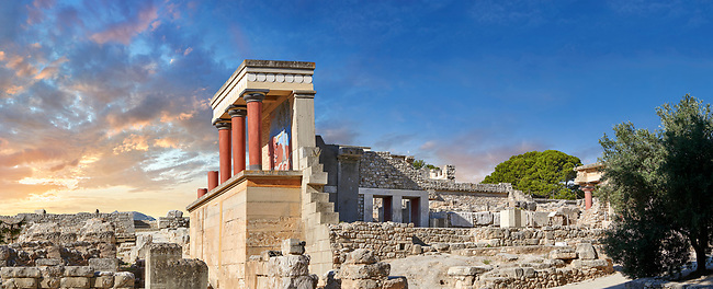 Panorama of the Minoan North Entrance Propylaeum with its painted charging  bull releif,  Knossos Palace archaeological site, Crete. At sunset.