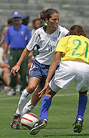 Julie Foudy v Tania.US Women's National Team vs Brazil at Legion Field in Birmingham, Alabama.