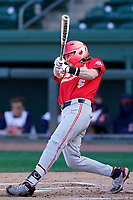 Third baseman Nick Erwin (5) of the Ohio State Buckeyes bats in a game against the Illinois Fighting Illini on Friday, March 5, 2021, at Fluor Field at the West End in Greenville, South Carolina. (Tom Priddy/Four Seam Images)