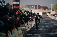 Toon Aerts (BEL/Telenet Fidea Lions) finishes 2nd with a flat tire (in the finishing straight)<br /> <br /> Elite Men's race<br /> Superprestige Gavere / Belgium 2017