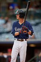 Mississippi Braves Drew Waters (3) during a Southern League game against the Jacksonville Jumbo Shrimp on May 4, 2019 at Trustmark Park in Pearl, Mississippi.  Mississippi defeated Jacksonville 2-0.  (Mike Janes/Four Seam Images)