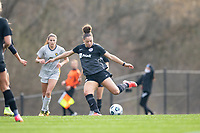 LOUISVILLE, KY - MARCH 13: Jorian Baucom #33 of Racing Louisville FC takes a shot at goal during a game between West Virginia University and Racing Louisville FC at Thurman Hutchins Park on March 13, 2021 in Louisville, Kentucky.