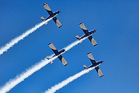 Aerobatic Airplane group formation during Air Show in Athens, Greece