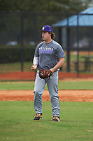 Tommy White (16) of St. Petersburg, Florida during the Baseball Factory All-America Pre-Season Rookie Tournament, powered by Under Armour, on January 13, 2018 at Lake Myrtle Sports Complex in Auburndale, Florida.  (Michael Johnson/Four Seam Images)