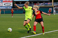 Rochester, NY - Saturday July 09, 2016: Seattle Reign FC defender Elli Reed (7), Western New York Flash midfielder McCall Zerboni (7) during a regular season National Women's Soccer League (NWSL) match between the Western New York Flash and the Seattle Reign FC at Frontier Field.