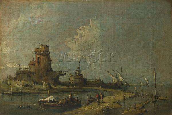 Full title: A Ruin Caprice<br /> Artist: Imitator of Francesco Guardi<br /> Date made: 19th century