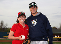 Congresswoman Kathy Hochul poses with Empire State Yankees outfielder Ray Kruml #51 after throwing out the ceremonial first pitch before the first ever Triple-A International League game at Dwyer Stadium on April 20, 2012 in Batavia, New York.  Empire State defeated Norfolk 6-4.  (Mike Janes/Four Seam Images)