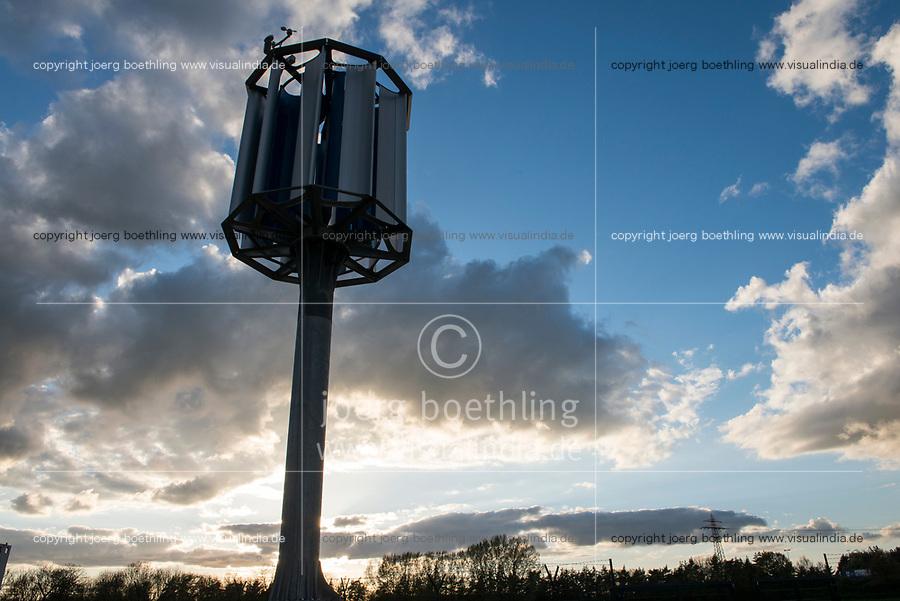 GERMANY, Hamburg Reitbrook, Eon Hansewerk, small wind turbine / DEUTSCHLAND, Hamburg, Eon Hansewerk, Energiegewinnung, kleine Windkraftanlage