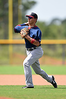 GCL Red Sox shortstop Javier Guerra (12) during practice before a game against the GCL Rays on June 24, 2014 at Charlotte Sports Park in Port Charlotte, Florida.  GCL Red Sox defeated the GCL Rays 5-3.  (Mike Janes/Four Seam Images)
