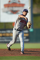 Hagerstown Suns starting pitcher Tomas Alastre (11) delivers a pitch to the plate against the Kannapolis Intimidators at Kannapolis Intimidators Stadium on July 16, 2018 in Kannapolis, North Carolina. The Intimidators defeated the Suns 7-6. (Brian Westerholt/Four Seam Images)