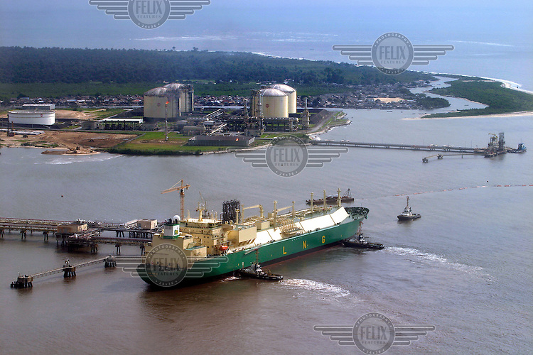 A tanker at the gas terminal, where LNG (Liquified Natural Gas) is exported.Shell operations in Niger Delta. Bonny oil terminal where oil is exported. © Fredrik Naumann