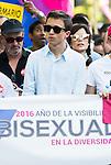 Iñigo Errejon of Podemos with the banner at protest Madrid Pride 2016. July 02. 2016. (ALTERPHOTOS/Borja B.Hojas)