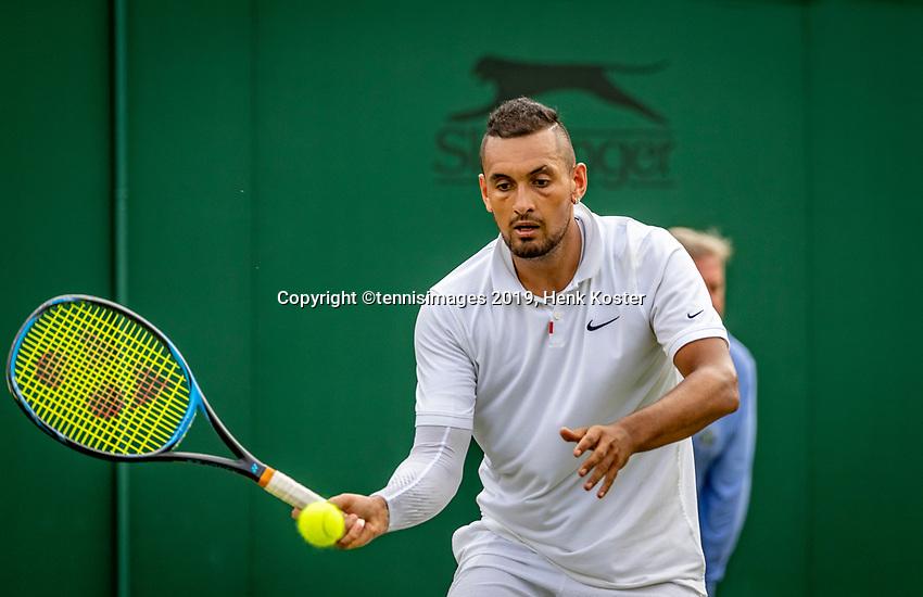 London, England, 2 nd July, 2019, Tennis,  Wimbledon, Nick Kyrgios (AUS)<br /> Photo: Henk Koster/tennisimages.com