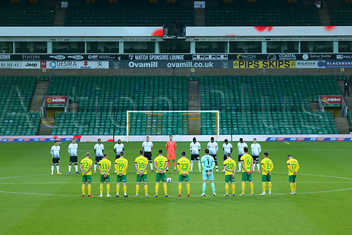 7th November 2020; Carrow Road, Norwich, Norfolk, England, English Football League Championship Football, Norwich versus Swansea City; Both sides observe a minutes silence for Remembrance Sunday