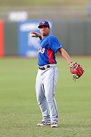 Luis Mendez #38 of the AZL Rangers before a game against the AZL Royals at Surprise Stadium on July 15, 2013 in Surprise, Arizona. AZL Rangers defeated the AZL Royals, 3-2. (Larry Goren/Four Seam Images)