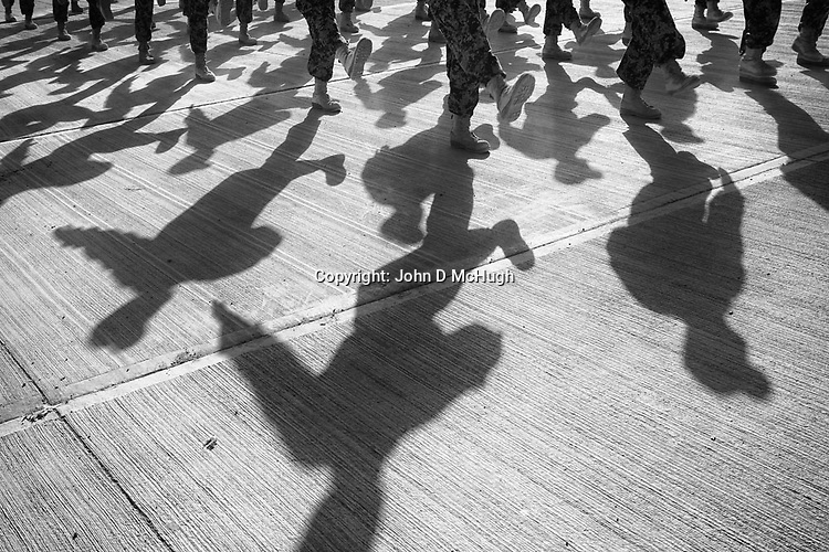 Afghan National Army soldiers practice their marching at the Regional Training Centre in Helmand, 13 Nov 2012. (John D McHugh)