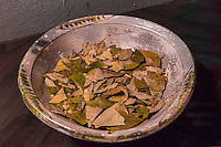 Peru, Cusco.  Bowl of Coca Leaves.  Tea from coca helps reduce effects of Cusco's 11,000-foot altitude.
