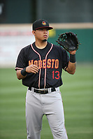 Rayder Ascanio (13) of the Modesto Nuts throws before a game against the Rancho Cucamonga Quakes at LoanMart Field on August 1, 2017 in Rancho Cucamonga, California. Rancho Cucamonga defeated Modesto, 2-1. (Larry Goren/Four Seam Images)