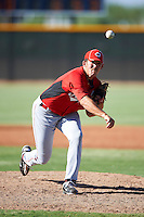 Cincinnati Reds minor league pitcher Mo Wiley #26 during an instructional league game against the Cleveland Indians at the Goodyear Training Complex on October 8, 2012 in Goodyear, Arizona.  (Mike Janes/Four Seam Images)
