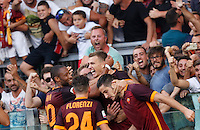 Calcio, Serie A: Roma vs Juventus. Roma, stadio Olimpico, 30 agosto 2015.<br /> Roma's Edin Dzeko, second from right, celebrates with teammates after scoring during the Italian Serie A football match between Roma and Juventus at Rome's Olympic stadium, 30 August 2015.<br /> UPDATE IMAGES PRESS/Riccardo De Luca