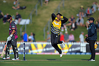 Wellington's Rachin Ravindra bowls during the Dream11 Super Smash cricket match between the Wellington Firebirds and Northern Knights at Basin Reserve in Wellington, New Zealand on Friday, 3 January 2020. Photo: Dave Lintott / lintottphoto.co.nz