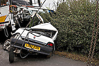 The remains of a Fatal incident involving a Coach and Renault Clio car. This image may only be used to portray the subject in a positive manner..©shoutpictures.com..john@shoutpictures.com