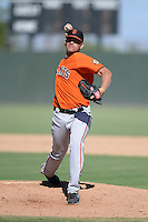 San Francisco Giants pitcher Carlos Alvarado during an instructional league game against the Oakland Athletics on September 27, 2013 at Papago Park Baseball Complex in Phoenix, Arizona.  (Mike Janes/Four Seam Images)
