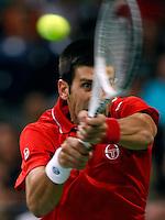 Tenis, Davis Cup 2010.Serbia Vs. Czech Republic, semifinals.Novak Djokovic Vs. Tomas Berdych.Novak Djokovic, returns.Beograd, 19.09.2010..foto: Srdjan Stevanovic/Starsportphoto ©