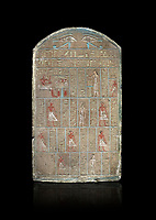 Ancient Egyptian stele of commander in chief Senebetysy, sandstone, Middle Kingdom, 13th Dynasty, (11759-1700 BC), Deir el-Medina, Old Fund cat 1629. Egyptian Museum, Turin. black background, <br /> <br /> Stet for the commander in chief of the city regiment of Sarenenutrt, son of Sainyt and his wife Senebtysy.