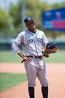 AZL Padres 2 right fielder Yordi Francisco (5) during an Arizona League game against the AZL Dodgers at Camelback Ranch on July 4, 2018 in Glendale, Arizona. The AZL Dodgers defeated the AZL Padres 2 9-8. (Zachary Lucy/Four Seam Images)