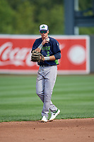 Vermont Lake Monsters shortstop Logan Davidson (3) during a NY-Penn League game against the Aberdeen IronBirds on August 18, 2019 at Leidos Field at Ripken Stadium in Aberdeen, Maryland.  Vermont defeated Aberdeen 6-5.  (Mike Janes/Four Seam Images)