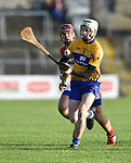 Ryan Taylor of Clare in action against Richard Cahalane of Cork during their Munster Hurling League game at Cusack Park. Photograph by John Kelly.