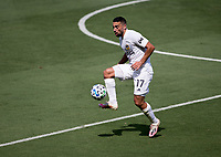 LOS ANGELES, CA - AUGUST 22: Sebastian Lletget #17 of the Los Angeles Galaxy traps a ball during a game between Los Angeles Galaxy and Los Angeles FC at Banc of California Stadium on August 22, 2020 in Los Angeles, California.