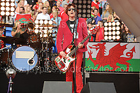 Nicky Wire of the Manic Street Preachers perform during the homecoming celebrations at the Cardiff City stadium on Friday 8th July 2016 for the Euro 2016 Wales International football squad.<br /> <br /> <br /> Jeff Thomas Photography -  www.jaypics.photoshelter.com - <br /> e-mail swansea1001@hotmail.co.uk -<br /> Mob: 07837 386244 -
