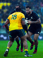 Tyrel Lomax in action during the Bledisloe Cup rugby union match between the New Zealand All Blacks and Australia Wallabies at Sky Stadium in Wellington, New Zealand on Sunday, 11 October 2020. Photo: Dave Lintott / lintottphoto.co.nz