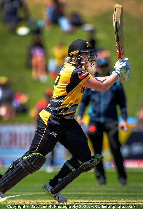 Rebecca Burns bats during the Dream11 Super Smash women's cricket match between the Wellington Blaze and Canterbury Magicians at Basin Reserve in Wellington, New Zealand on Thursday, 9 January 2020. Photo: Dave Lintott / lintottphoto.co.nz
