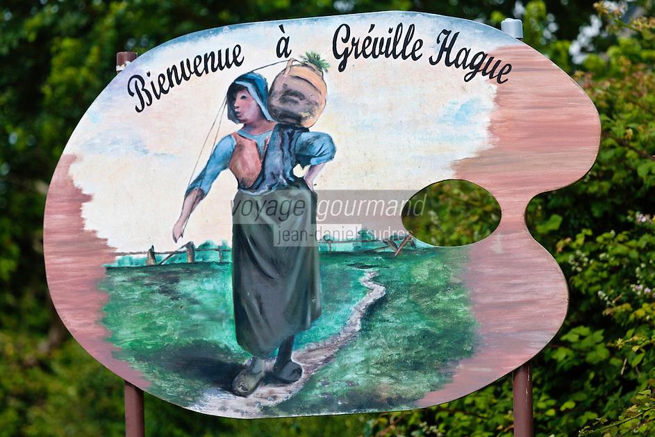 Europe/France/Normandie/Basse-Normandie/50/Manche/Presqu'île de la Hague/Gréville-Hague: Panneau de bienvenue au village natal du peintre Jean-François Millet