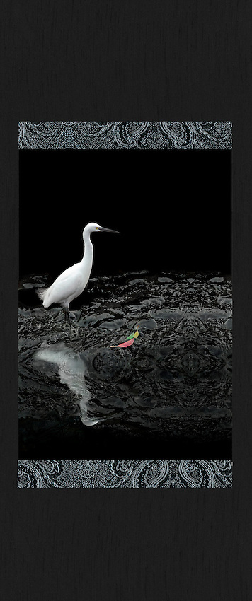 """Giclée with brocade and shantung fabrics. 26"""" x 52"""".<br /> The famous photographer, Henry Cartier Bresson, coined the phrase """"the decisive moment"""", which refers to the perfect instant to take a photo. I waited patiently for this egret to strike when a fish swam by or to spread its great wings and take to the sky. Neither of those happened, but the bird's feathers blowing in the breeze and colorful leaves floating into the frame seemed perfect  to me.<br /> Cheonjiyeon Falls, Seogwipo, Jeju Island, South Korea"""