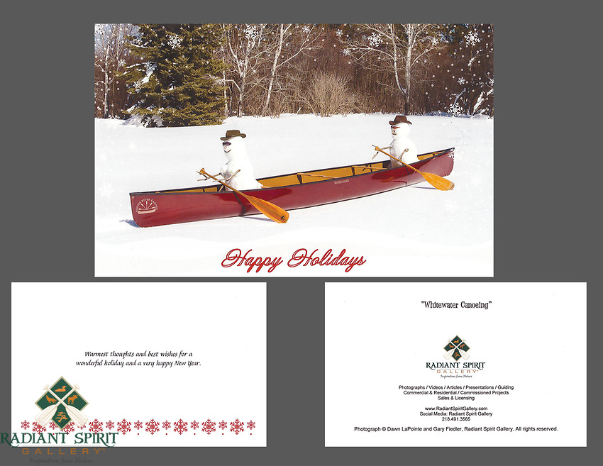 """""""Whitewater Canoeing"""" holiday cards, cards/envelopes, greeting inside, approx. 5""""x7"""" folded; individual or pack of 10"""