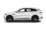 Car Driver side profile view of a 2018 Jaguar F-PACE 20d-R-Sport-AWD 5 Door SUV Side View