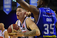 Giants centre Anzac Rissetto in action during the National Basketball League match between Cigna Wellington Saints and Nelson Giants at TSB Bank Arena in Wellington, New Zealand on Saturday, 15 May 2021. Photo: Dave Lintott / lintottphoto.co.nz