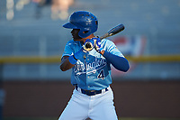 Diego Hernandez (4) of the Burlington Royals at bat against the Johnson City Cardinals at Burlington Athletic Stadium on September 3, 2019 in Burlington, North Carolina. The Cardinals defeated the Royals 7-2 to even Appalachian League Championship series at one game a piece. (Brian Westerholt/Four Seam Images)