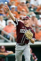 Texas A&M Aggies pitcher Ross Stripling #36 throws to first against the Texas Longhorns in NCAA Big XII Conference baseball on May 21, 2011 at Disch Falk Field in Austin, Texas. (Photo by Andrew Woolley / Four Seam Images)