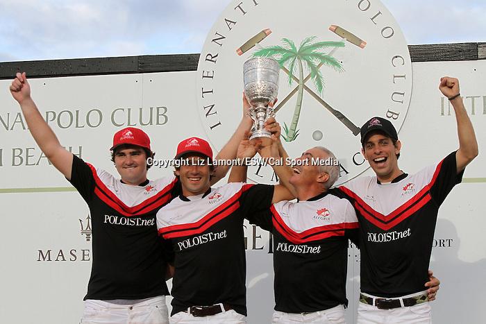 April 20, 2014: Alegria (Julian Mannix, Hilario Ulloa, Mariano Aguerre, Clemente Zavaleta) wins the 110th Maserati U.S. Open Polo Championship, in overtime on a penalty 3 foul shot at The International Polo Club, Palm Beach in Wellington, FL. Liz Lamont/ESW/CSM